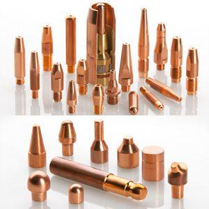 caps y electrodos de cobre